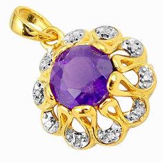Natural purple amethyst topaz 925 silver 14k gold pendant jewelry c22793