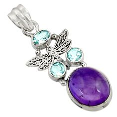 11.25cts natural purple amethyst topaz 925 silver dragonfly pendant d43626