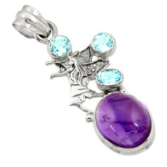 Clearance Sale- 11.25cts natural purple amethyst topaz 925 sterling silver angel pendant d43621