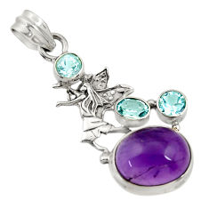 10.67cts natural purple amethyst topaz 925 sterling silver angel pendant d43622
