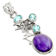 11.02cts natural purple amethyst topaz 925 sterling silver angel pendant d43630