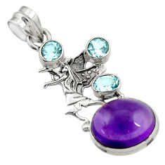 Clearance Sale- 9.43cts natural purple amethyst topaz 925 sterling silver angel pendant d43639