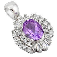 Natural purple amethyst topaz 925 sterling silver pendant jewelry c18203