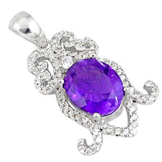Natural purple amethyst topaz 925 sterling silver pendant jewelry c18143
