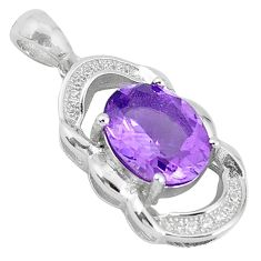 Natural purple amethyst topaz 925 sterling silver pendant jewelry c18148