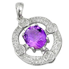 Natural purple amethyst topaz 925 sterling silver pendant jewelry c18153