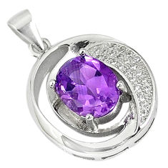 Natural purple amethyst topaz 925 sterling silver pendant jewelry c18159