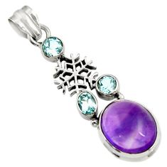 9.65cts natural purple amethyst topaz 925 sterling silver pendant jewelry d43594