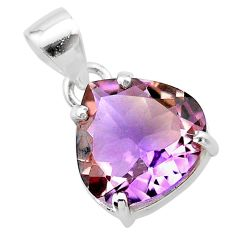 8.00cts natural purple ametrine 925 sterling silver pendant jewelry t24276