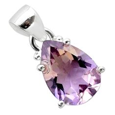 6.31cts natural purple ametrine pear 925 sterling silver pendant jewelry t50168