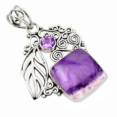 15.80cts natural purple auralite 23 amethyst 925 sterling silver pendant d46654