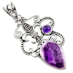 11.66cts natural purple auralite 23 amethyst 925 sterling silver pendant d46681