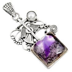 13.45cts natural purple auralite 23 pearl 925 silver holy cross pendant d39365