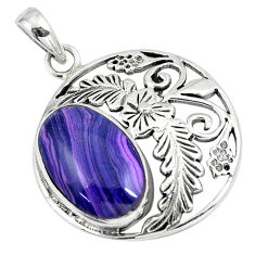 6.36cts natural purple botswana agate 925 silver flower pendant a90835 c13669