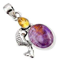 Clearance Sale- 13.28cts natural purple cacoxenite super seven 925 silver fish pendant d43782
