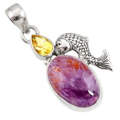 Clearance Sale- 16.03cts natural purple cacoxenite super seven 925 silver fish pendant d44250