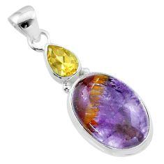 10.76cts natural purple cacoxenite super seven citrine 925 silver pendant t56743