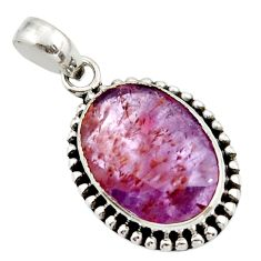 13.54cts natural purple cacoxenite super seven faceted 925 silver pendant r44847