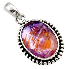 13.54cts natural purple cacoxenite super seven faceted 925 silver pendant r44859