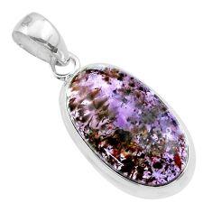 11.59cts natural purple cacoxenite super seven oval 925 silver pendant t56793