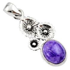 4.99cts natural purple charoite (siberian) 925 silver flower pendant r44182
