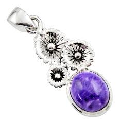 5.11cts natural purple charoite (siberian) 925 silver flower pendant r44183