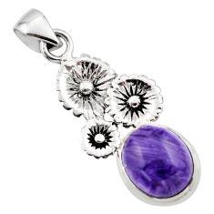 5.34cts natural purple charoite (siberian) 925 silver flower pendant r44189