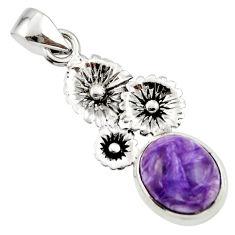 5.00cts natural purple charoite (siberian) 925 silver flower pendant r44192