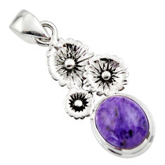 5.35cts natural purple charoite (siberian) 925 silver flower pendant r44193