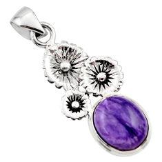 5.09cts natural purple charoite (siberian) 925 silver flower pendant r44194