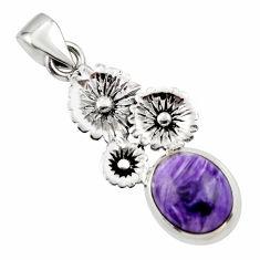 5.02cts natural purple charoite (siberian) 925 silver flower pendant r44196