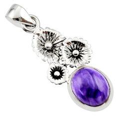 4.94cts natural purple charoite (siberian) 925 silver flower pendant r44198