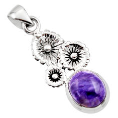 5.29cts natural purple charoite (siberian) 925 silver flower pendant r44200