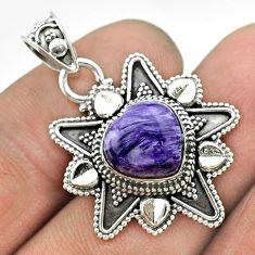 5.38cts natural purple charoite (siberian) 925 silver heart pendant t56071