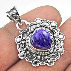 5.16cts natural purple charoite (siberian) 925 silver heart pendant t56108