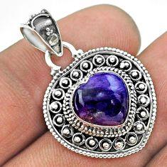 4.63cts natural purple charoite (siberian) 925 silver heart pendant t56182