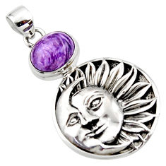 5.49cts natural purple charoite (siberian) 925 silver moon face pendant r52845
