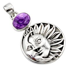 4.96cts natural purple charoite (siberian) 925 silver moon face pendant r52846