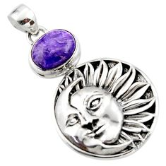 5.25cts natural purple charoite (siberian) 925 silver moon face pendant r52847
