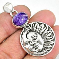 5.47cts natural purple charoite (siberian) 925 silver moon face pendant r90474