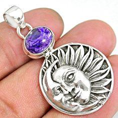 4.38cts natural purple charoite (siberian) 925 silver moon face pendant r90479