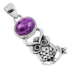 4.82cts natural purple charoite (siberian) 925 silver owl pendant r52901