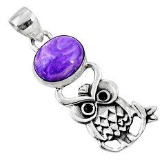 5.38cts natural purple charoite (siberian) 925 silver owl pendant r52903