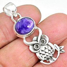 5.54cts natural purple charoite (siberian) 925 silver owl pendant r90486