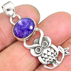 5.49cts natural purple charoite (siberian) 925 silver owl pendant r90488