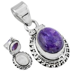 4.93cts natural purple charoite (siberian) 925 silver poison box pendant r55635