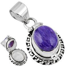 5.16cts natural purple charoite (siberian) 925 silver poison box pendant r55637