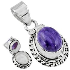 5.39cts natural purple charoite (siberian) 925 silver poison box pendant r55638