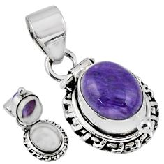 5.08cts natural purple charoite (siberian) 925 silver poison box pendant r55640