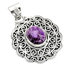 4.82cts natural purple charoite (siberian) 925 sterling silver pendant r20241